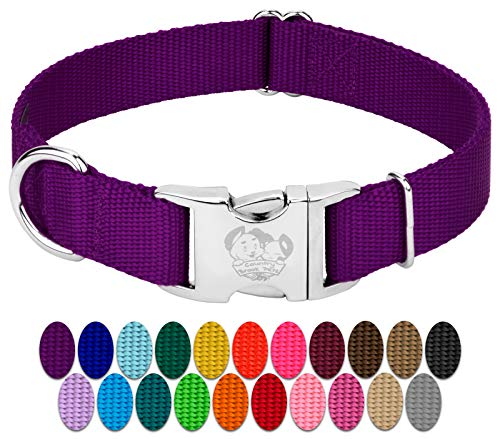 Country Brook Design - Vibrant 26 Color Selection - Premium Nylon Dog Collar with Metal Buckle...