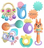 Toyshine Pack of 8 Rattle and Teather Set for New Born Babies, 5 Rattle Set and 3 Teathers, Non-Toxic