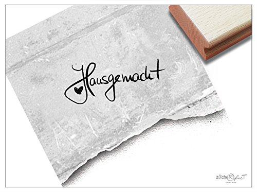 Stempel - Textstempel HAUSGEMACHT mit Herz handschriftlich - Schriftstempel für Etiketten Geschenkanhänger Karten zum Geburtstag - von zAcheR-fineT
