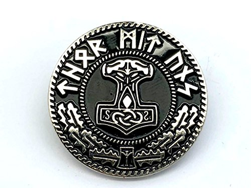 Pin de Metal Plateado con diseño de Martillo de Thor de Nation Mjolnir Viking