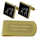 Select Gifts El Deporte de esgrima de Espada de Tono Oro Gemelos Money Clip Grabado Set de Regalo