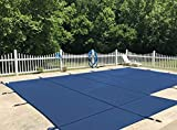 WaterWarden Safety Inground Pool Cover, Fits 16' x 32', Blue Mesh, Left Step – Easy Installation, Triple Stitched for Max Strength, Includes All Needed Hardware, SCMB1632LS