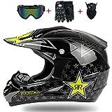 Adulto MX Casco Motocross Negro/Rockstar con Gafas Guantes S