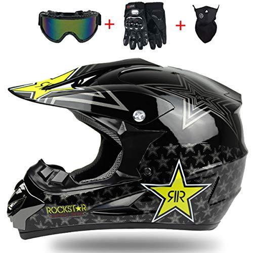 Adulto MX Casco Motocross Negro/Rockstar con Gafas Guantes Set di 4 Piezas,...