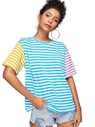 Romwe Women's Short Sleeve Cut and Sew Colorblock Mix Patch Striped Print Loose Fit Tee Shirt Top #Multicolor L