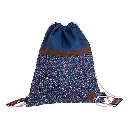 Hogar & Mas damesrugzak casual of gymtas met ritssluiting en tas, originele rugzakken met handgrepen. Bloemenmotief 40 x 33,5 cm