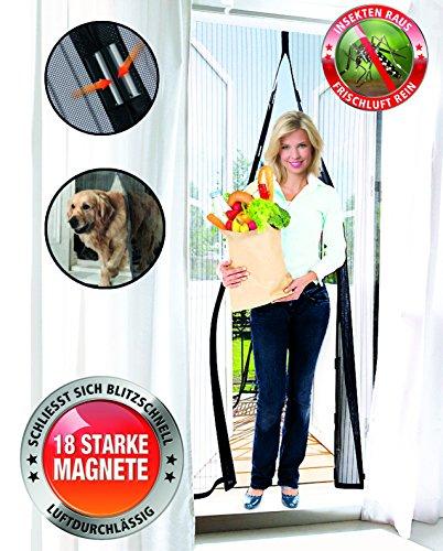 Preisvergleich Produktbild Original Telewelt Insektenvorhang - Luftdurchlässiges Fliegengitter schließt automatisch und in Sekundenschnelle - Universaler Fliegenvorhang 100x210cm (Schwarz)