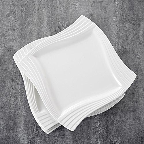 MALACASA, Serie Amparo, 18 teilig Set Cremeweiß Porzellan Kuchenteller Dessertteller Frühstücksteller 8 Zoll / 20,5x20,5x1,8cm für 6 Personen
