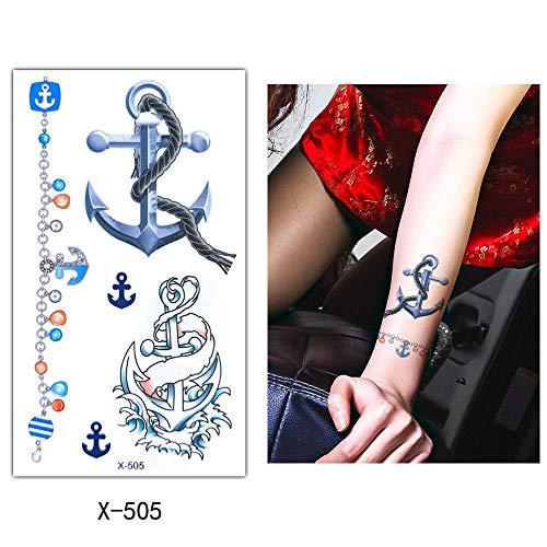 Brazo Hombro Tatuajes Temporales Ancla/Ciervo Animal/Gato Negro, 7 Hojas Grande Tatuaje Temporales Mangas Negro Tatuaje Cuerpo Pegatinas Para Adultos Hombre Mujer Niños,Artes Corporales Pegatinas