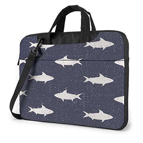 Laptop Messenger Laptop Bag Sharks Náutico Sea Navy Bolso de Hombro Maletín Maletín de Oficina Funda para portátil Satchel Tablet para Hombres Mujeres