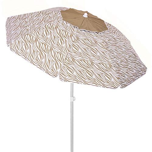 LOLAhome Sombrilla Playa antiviento con Varillas Flexibles marrón de Fibra de Vidrio y Aluminio de Ø 240 cm