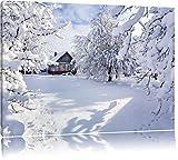Winterlandschaft mit Hütte Format: 120x80 auf Leinwand, XXL riesige Bilder fertig gerahmt mit Keilrahmen, Kunstdruck auf Wandbild mit Rahmen, günstiger als Gemälde oder Ölbild, kein Poster oder Plakat
