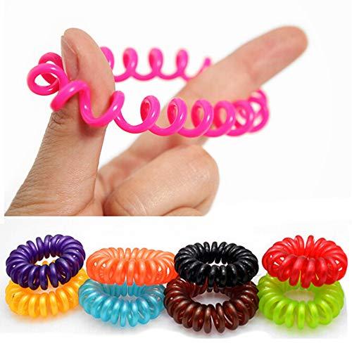 Haargummi Telefonkabel Design (Kunststoff-Spirale) elastisch Spiralhaargummi Haarschmuck im 10er Set