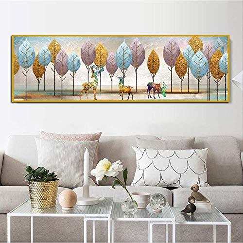 Welvarende Boom Blad Foto Nordic Stijl Moderne Decoratie Canvas Schilderij Woonkamer Behang Art Bed Sofa Achtergrond Zonder Frame 60x190cm