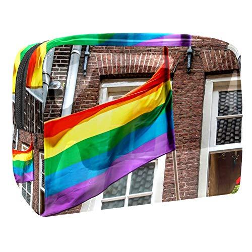 TIZORAX Trousse à maquillage en PVC Motif drapeau arc-en-ciel