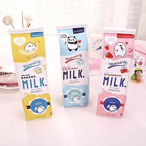 Ensemble de 3adorables trousses en forme de brique de lait de huichang 20x5x5 cm Set von 3 verschiedene Farben