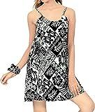 LA LEELA Vestido de cóctel de Fiesta oscilación Primavera Baile de Mini Playa de Las Mujeres Negro_Z12 M