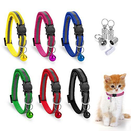 6er Einstellbar Reflektierendes Katzenhalsband mit Adresse Glocke Schnalle Set,Verstellbar Reflektierend Katzenhalsbänder mit ID Tag Glöckchen Sicherheitsverschluss Halsbänder für Katzen Hauskatzen