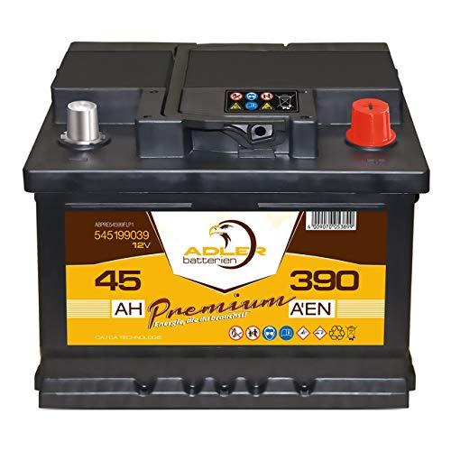 Starterbatterie 12V 45 Ah 390A Adler PKW-Batterie 54599 statt 35Ah 40Ah 42Ah 44Ah