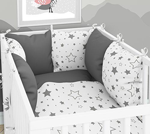ELFIQUE Kissennest - Sechs Kissen mit Bezügen für Kinderbett 70 x 140 cm