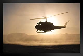 Bell UH1 Iroquois Huey Helicopter Flying Photo Black Wood Framed Art Poster 20x14