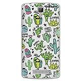 dakanna Funda para [ZTE Blade L5 - L5 Plus] de Silicona Flexible, Dibujo Diseño [Pattern Divertido de Cactus y Frases], Color [Fondo Transparente] Carcasa Case Cover de Gel TPU para Smartphone