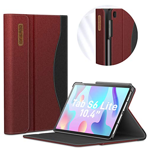 INFILAND Hülle für Samsung Galaxy Tab S6 Lite, Vordere UnterstüTzung Schutzhülle für Samsung Galaxy Tab S6 Lite 10.4 Zoll (SM-P615/P610) 2020, Auto Schlaf/Wach,Rotwein