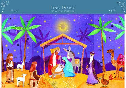 Ling Designs Advent Calendar STARLIT NIGHT Nativity Religious with 24 Doors and White Mailing Envelope 240 x 400mm