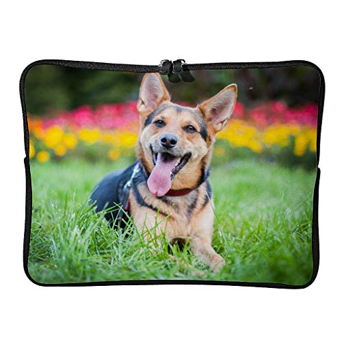 Regular German Shepherd Dog Laptop Bags Funny Reusable - Pet Lover Tablet Cases Suitable for Work White 15 Zoll