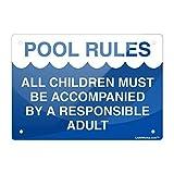 Cartel de Aluminio de Reglas de Piscina, Todos los niños Deben ser...