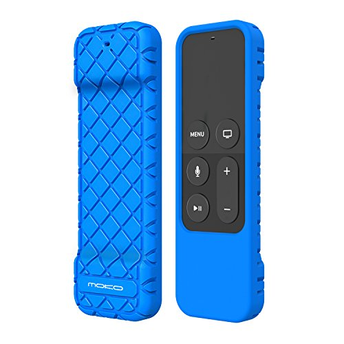 MoKo Silicone Case Fit Apple TV 4K/4th Gen Remote, Flexible Lightweight Non-Slip-Grip & Secure Protective Cover Compatible with Apple TV 4K Siri Remote Controller - Blue