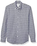 Amazon Essentials Men's Slim-Fit Gingham Long-Sleeve Pocket Oxford Shirt, Navy, XX-Large