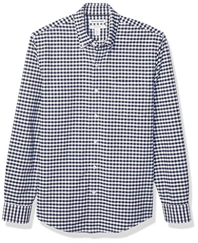 Amazon Essentials Men's Slim-Fit Gingham Long-Sleeve Pocket Oxford Shirt, Navy, Large