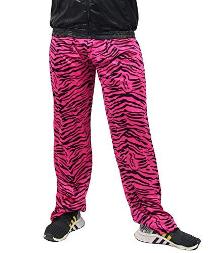 Foxxeo Jogginghose 80er Jahre Kostüm Trainingsanzug Assianzug Jogginganzug Retro schwarz pink S - XXXL, Größe:L/XL