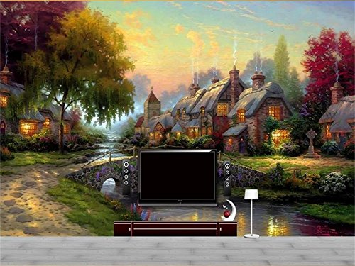 XZCWWH 3D Wallpaper Photo Wallpaper Custom Mural Livingroom Thomas Kincaid Rural Landscape Oil Painting Sofa Tv Background Wall Sticker,200Cm(W)×140Cm(H)