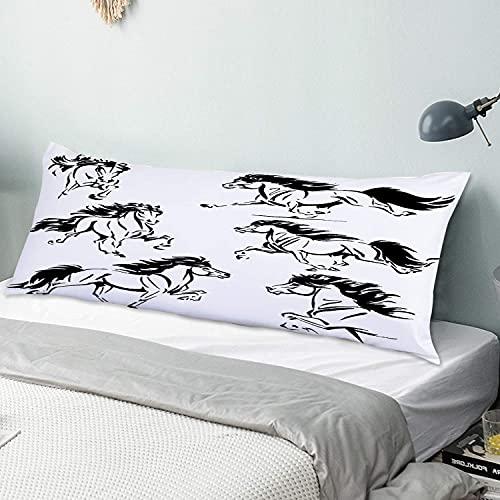 Funda de Almohada para el Cuerpo,Temas de Caballos islandeses Imágenes basadas en bocetos,Funda de cojín Larga con Cremalleras para sofá de Dormitorio en casa (20x54 Pulgadas)
