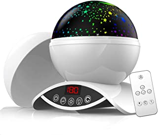 Night Light Projector, Eleanistor 9 Colors Dimmable Combinations Romantic Starry Sky Lamp, 360 Degree Rotating Remote Control and Timer Design Projection Lamp, Best Night Lights for Kids-White