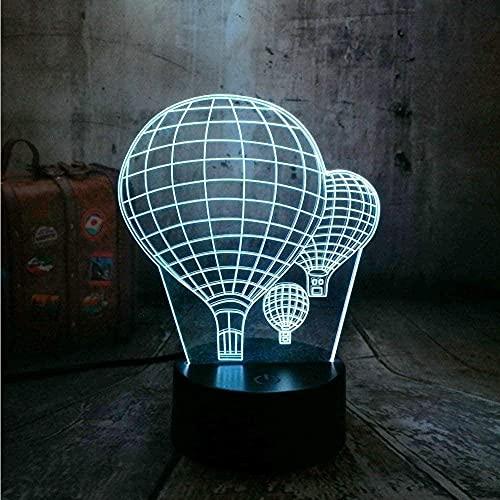 Luz de noche 3D Lámpara de escritorio 3D Globo de aire caliente que cambia de 16 colores Luz de noche LED Ilusión óptica creativa del sueño Día de San Valentín Regalo para niños