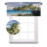 Cortinas de media ventana de viaje, vista de la isla del Caribe, con palmera y océano, impresión exótica, ideal para pequeñas ventanas en cocinas y baños, ancho 100 x largo 30 cm, color crema azul