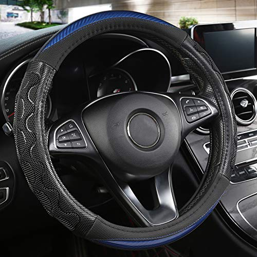 Black Panther Luxury Leather Car Steering Wheel Cover with 3D Honeycomb Hole Anti-Slip Design, 15 Inch Universal -Blue