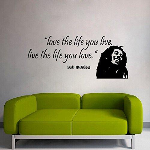 Wand Zitat Love The Life You Live Bob Marley Zitat Vinyl Decor Wandmalereien Yoga Wandtattoo Aufkleber