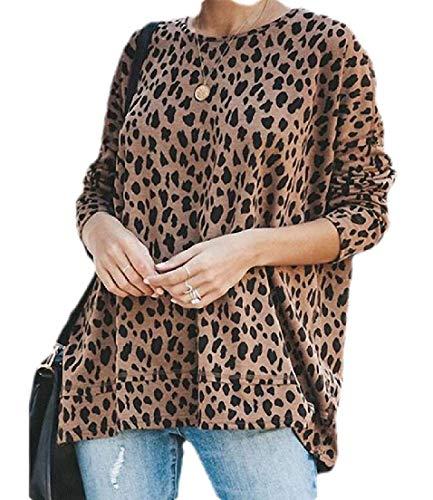 CRYYU Tops de Mujer Blusa Leopardo impresión Invierno Suelto Ajuste Manga Larga O Cuello Camiseta Khaki…