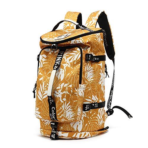 Borsone da palestra, 4 vie, impermeabile, con scomparto per scarpe, per viaggi, sport, escursionismo, computer portatile - giallo - X-Large