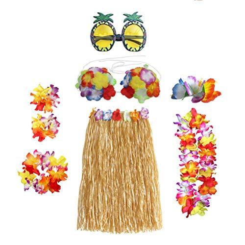 Toyandona - Juego de 8 faldas hawaianas con corona de flores, collares, pulseras, sujetadores de piña, gafas de sol para fiestas temáticas (color morado)