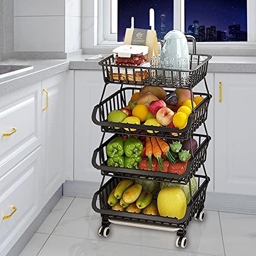 4 Tier Fruit Basket Wire Market Basket Stand Stackable Storage Basket with Lockable Wheels-Multi-purpose Rolling Vegetable Storage Cart TEXZEOM Metal Basket Storage Rack for Kitchen, Pantry, Bedroom, Bathroom,Living Room,Garage