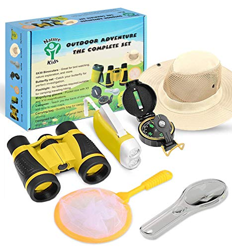 Adventure Kids - Outdoor Explorer Kit, Children Binoculars, Flashlight, Compass, Magnifying Glass, Butterfly Net & Backpack. Great Toys Kids Gift for Boys & Girls Age 3-10 Year Old Camping Educational
