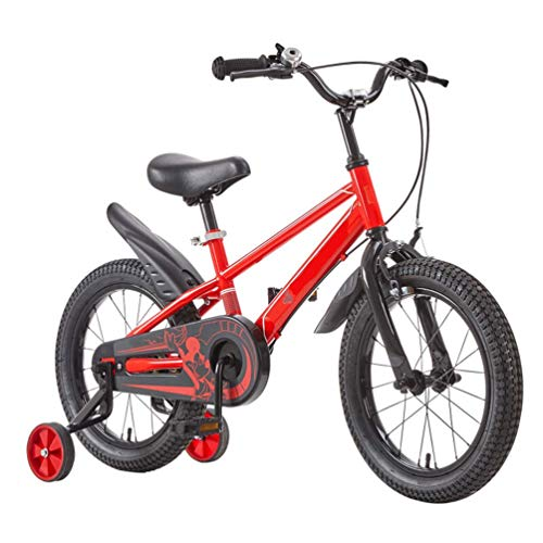 LHAHGLY Freestyle Kids Bike, niños y niñas, 14 Pulgadas con Ruedas de Entrenamiento Mudguard, Rojo