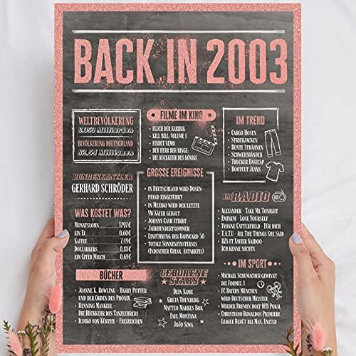 """Holzbild Rosé Gold - Geschenk 18 Geburtstag """"Back in 2003"""" - personalisierbar zum Hinstellen/Aufhängen optional beleuchtet, 18 Geburtstag Frauen - Wand-Bild Aufsteller - persönliches Geschenk"""