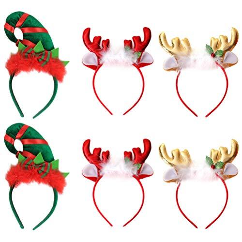 Lurrose - Set di 6 cerchietti natalizi con cerchietto e cappello da elfo e corna da renna