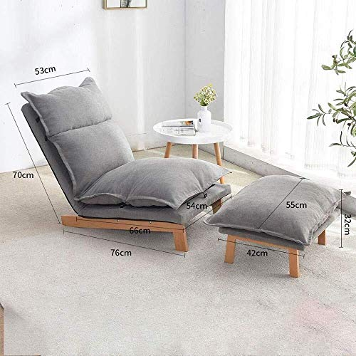Waniyin Computer chair BUYING Lazy Lounge Sofa Chair, Thick Seat Cushion Lengthen Lounge Sofa Bed With Base And Footrest Home And Office Lazy Floor Chair For Game Reading Watching TV,Gray
